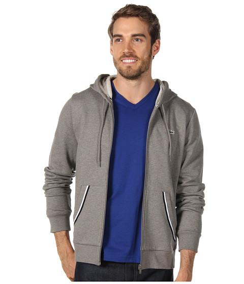 Bluze Lacoste - Full Zip Hoodie w/ Tipping - Husky Grey/Black/White
