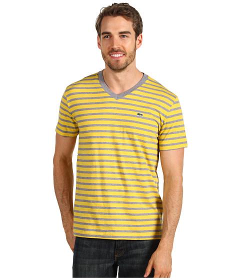 Tricouri Lacoste - S/S V-Neck Striped T-Shirt - Husky Grey/Starfruit Yellow