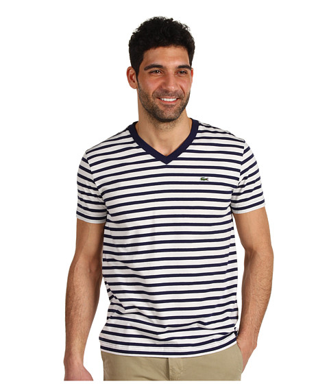 Tricouri Lacoste - S/S V-Neck Striped T-Shirt - Shadow Blue/Cake Flour White