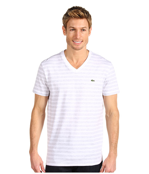 Tricouri Lacoste - S/S V-Neck Striped T-Shirt - White/Dust Grey/Starfruit