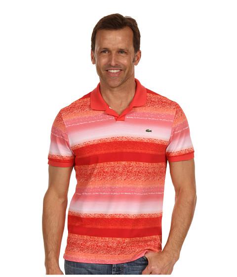 Tricouri Lacoste - S/S Mini Pique Ocean Print Johnny Collar Polo Shirt - Guava Orange/Multi Color