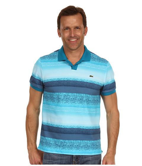 Tricouri Lacoste - S/S Mini Pique Ocean Print Johnny Collar Polo Shirt - Mediterranean Shore Blue