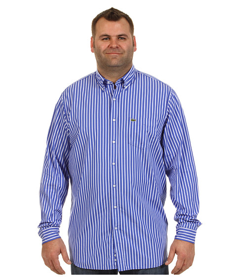 "Bluze Lacoste - \""Tall\"" L/S Button Down Poplin Bold Stripe Woven Shirt - Obscure Blue/White"