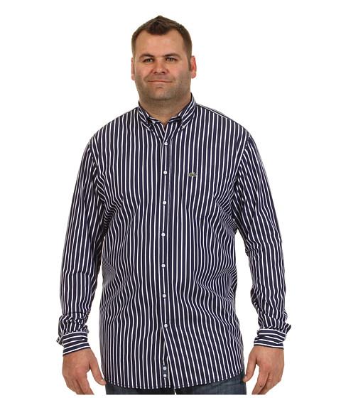 "Bluze Lacoste - \""Tall\"" L/S Button Down Poplin Bold Stripe Woven Shirt - Shadow Blue/White"