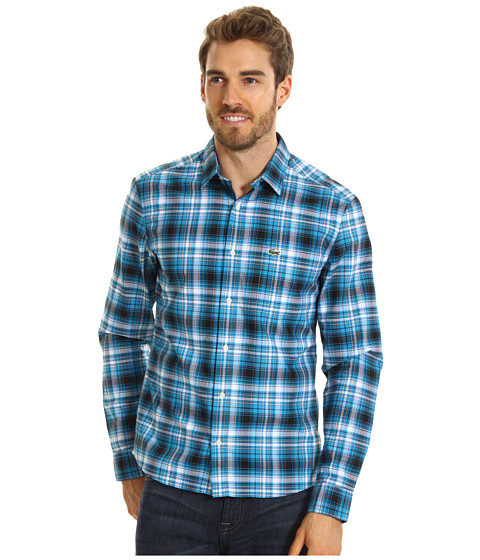 Bluze Lacoste - L!VE L/S Plaid Woven Shirt - Black/White/White/Mediterranean