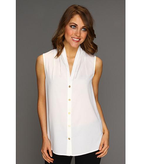 Tricouri Calvin Klein - S/L Button Front Blouse - Soft White
