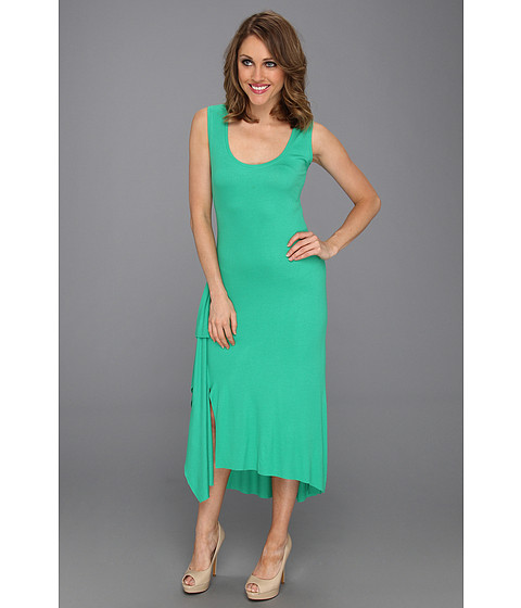 Rochii BCBGMAXAZRIA - Annika Sleeveless Dress w/Ruffle Slit - Green Opal