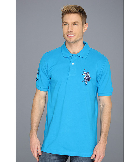 Tricouri U.S. Polo Assn - Solid Polo with Tonal Pony - Teal Blue