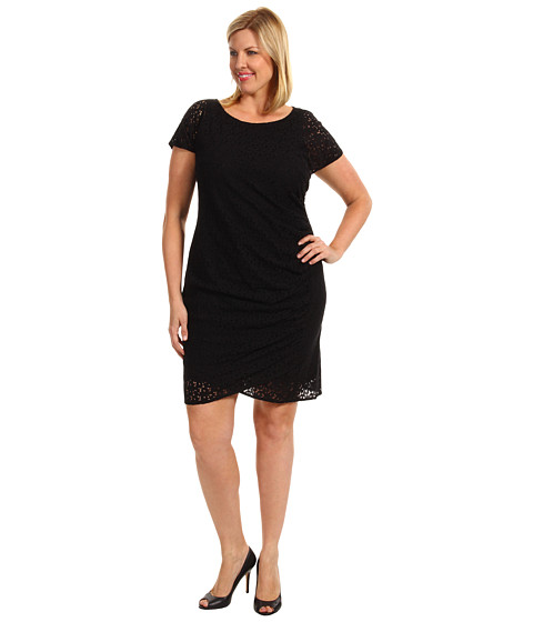 Rochii DKNY - Plus Size Cap Sleeve Dress w/ Side Drape - Black