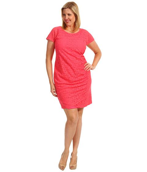 Rochii DKNY - Plus Size Cap Sleeve Dress w/ Side Drape - Bright Bloom