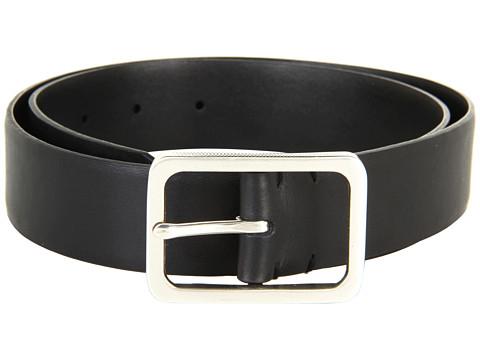 Curele John Varvatos - 35mm Textured Centerbar on Vachetta Leather - Black
