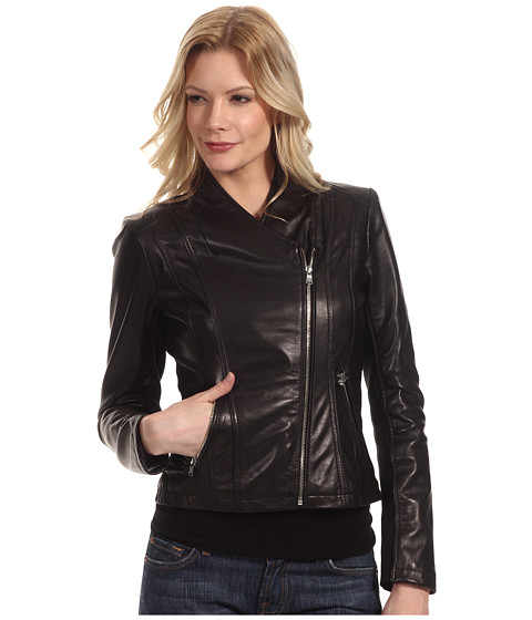 Sacouri Calvin Klein - Leather Moto Jacket - Black