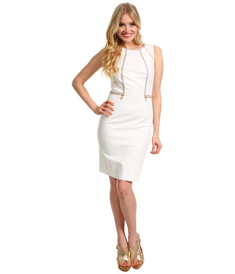 Rochii Calvin Klein - Piped Sheath Dress - Ivory