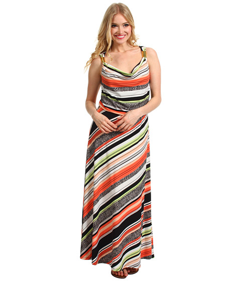 Rochii Calvin Klein - Vintage Stripe Maxi Dress w/Hardware - Porcelain Rose/Bellini/Black