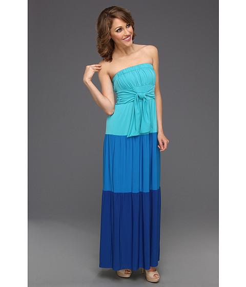 Rochii Donna Morgan - Color Block Maxi Dress - Aquamarine/Cerulean/Azure
