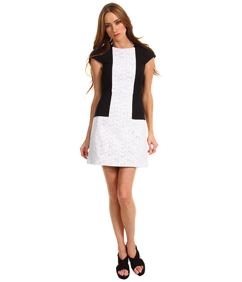 Rochii Tibi - Carey Embroidery Seamed Dress - White/Black Multi