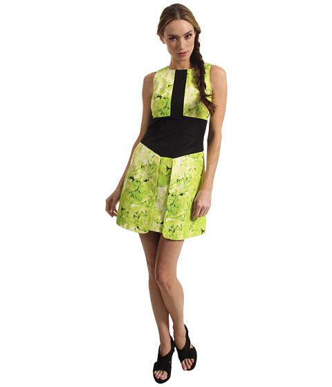 Rochii Tibi - Sleeveless Dress - Lime Green Multi