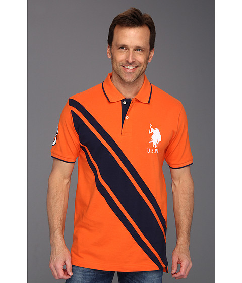 Tricouri U.S. Polo Assn - Colorblock Solid Pique Polo - Orange Popsicle