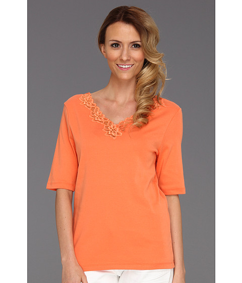 Tricouri Jones New York - Elbow V-Neck w/ Lace Sleeve Solid - Coral Ice