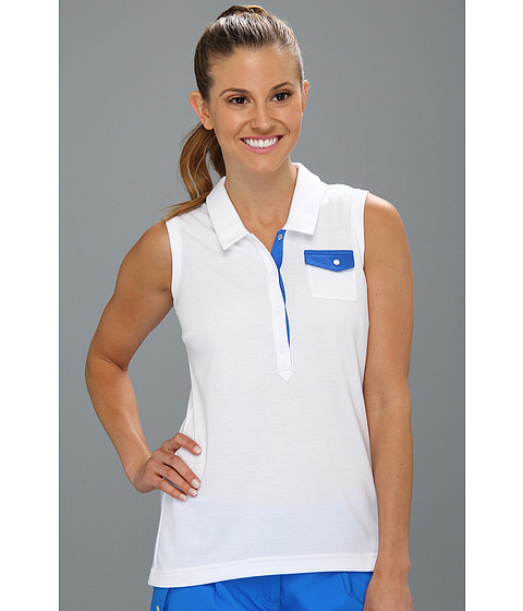 Bluze adidas - Fashion Performance Sleeveless Pocket Polo \13 - White/Galaxy