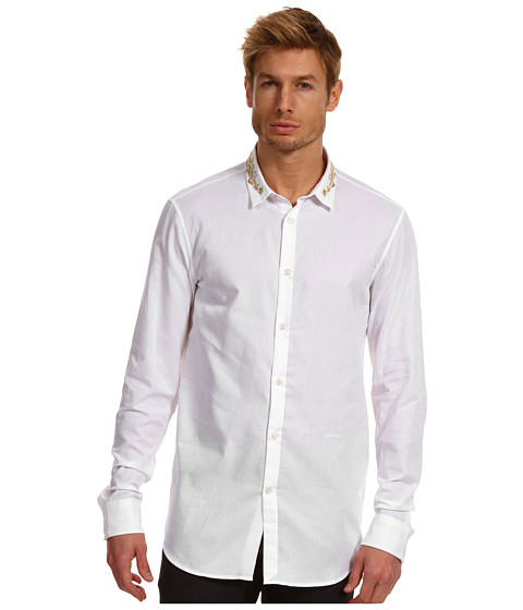 Camasi Just Cavalli - Gold Embroidered Collar Button Up - White