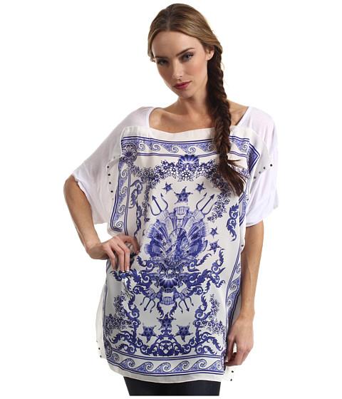 Tricouri Just Cavalli - Poseidon Print Silk Foulard Top - White