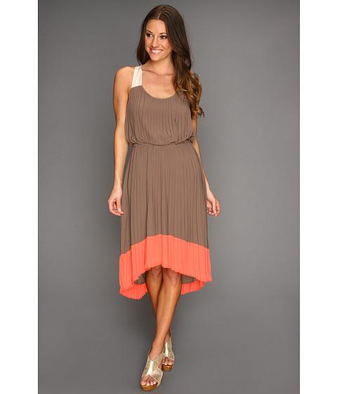 Rochii Jessica Simpson - Pleated Colorblock Dress w/ Crisscross Back - Deep Taupe