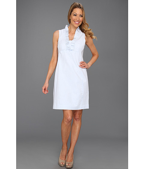 Rochii Jessica Howard - Ruffle Collar Empire Waist Sheath - Blue