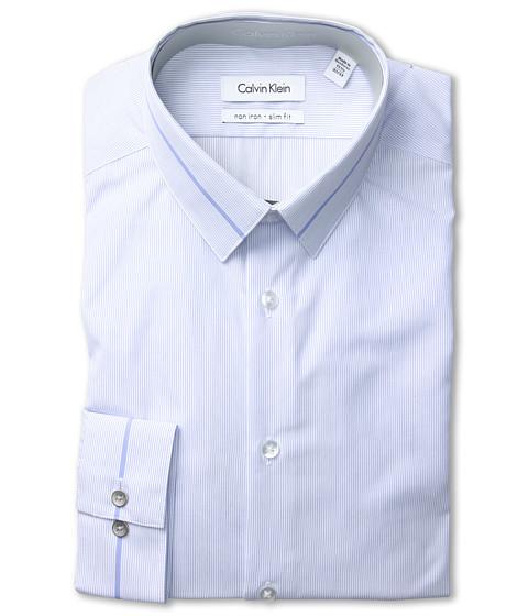 Tricouri Calvin Klein - Non-Iron Slim Fit Microstripe Dress Shirt - Blue