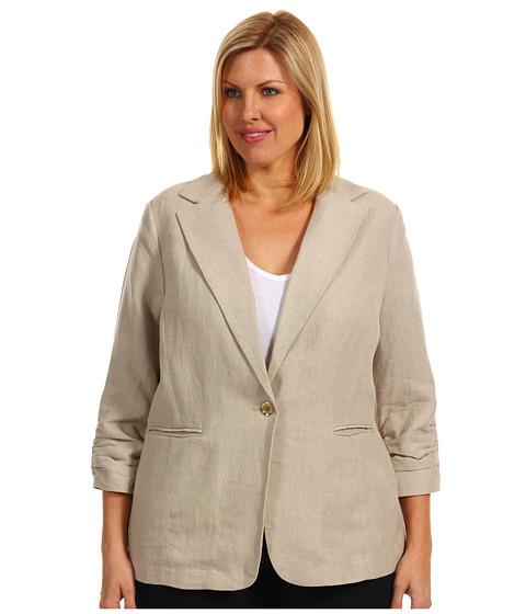 Jachete Michael Kors - Plus Size Linen Shirred Boyfriend Jacket - Hemp