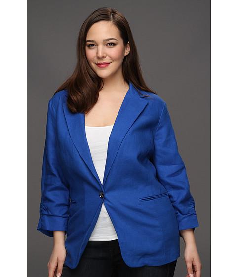 Jachete Michael Kors - Plus Size Linen Shirred Boyfriend Jacket - Urban Blue