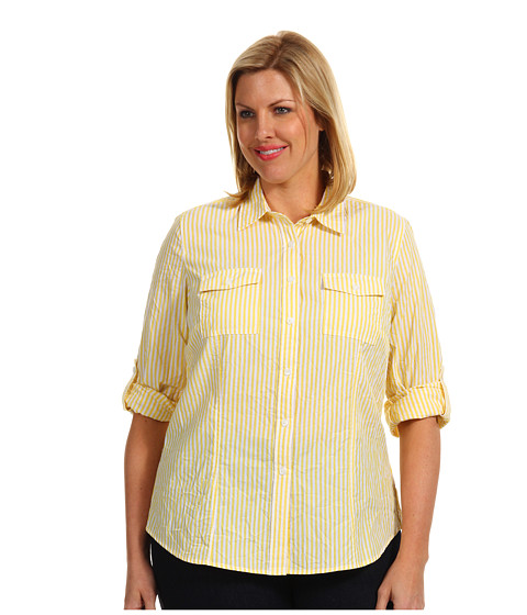 Bluze Michael Kors - Plus Size Yarn Dye Button Down Shirt - Citrus