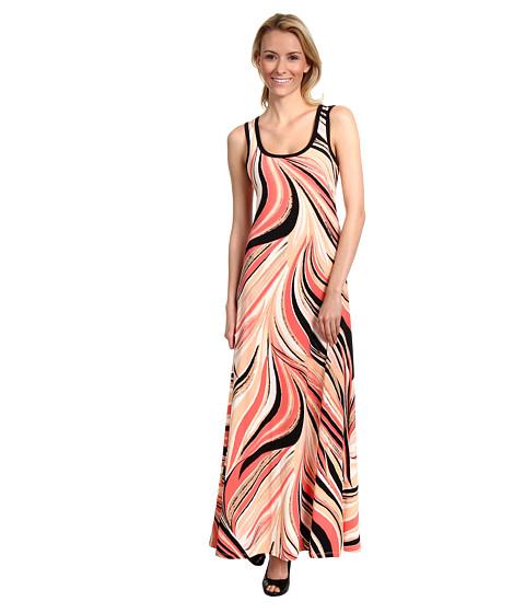 Rochii Calvin Klein - Swirl Printed Maxi Dress - Bellini/Black Multi