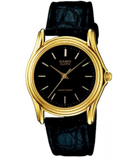 Ceasuri Casio - Casio Mtp1096q-1a Mens Black Leather Casual Analog Dress Watch Black Dial Gold - Multicolor