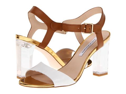 Pantofi Diane Von Furstenberg - Patmos - White/Cuoio Vacchetta/Platino Specchio