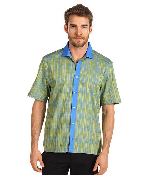 Camasi Versace - Printed Short Sleeve Shirt with Contrast - Light Green