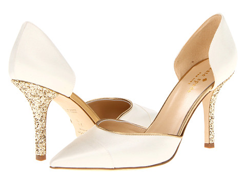 Pantofi Kate Spade New York - Piper - Ivory Satin/Old Gold Metallic Nappa