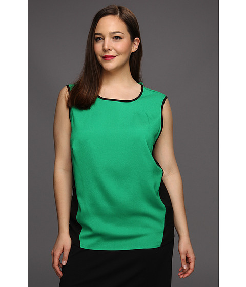 Bluze Calvin Klein - Plus Size Sleeveless Colorblock Pullover - Emerald