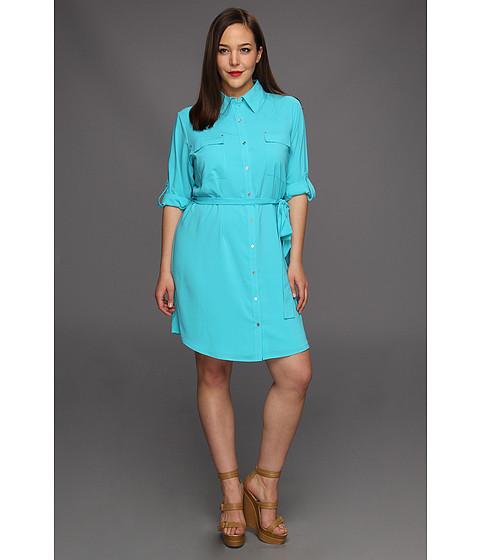Rochii Calvin Klein - Plus Size Shirt Dress - Nile