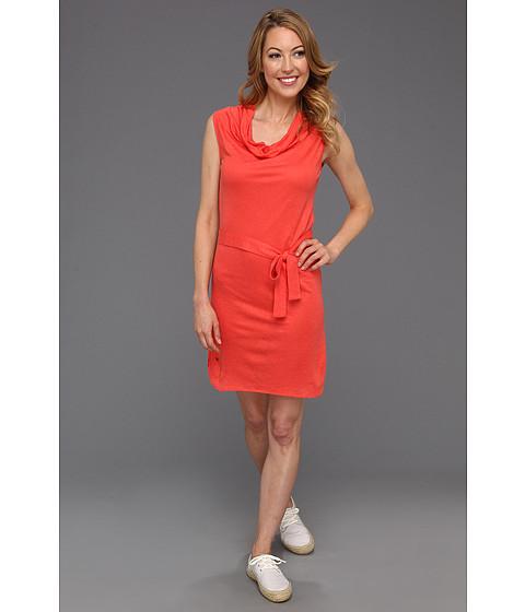 Rochii Lacoste - Cap Sleeve Linen Slubby Belted T-Shirt Dress - Guava Orange