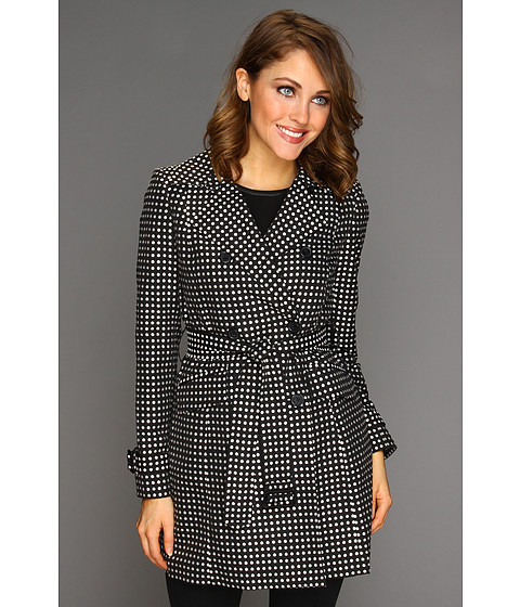 Jachete Anne Klein New York - Polka Dot Trench - Black/Camellia Multi