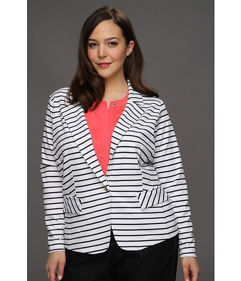 Jachete Anne Klein New York - Plus Size Ponte Striped Blazer - White/New Marine Multi