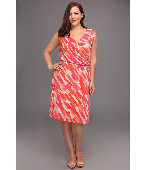 Rochii Anne Klein New York - Plus Size Color Block Print Dress - Carnelian Multi
