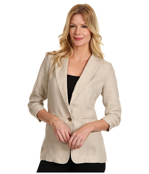 Jachete Michael Kors - Linen Shirred Boyfriend Jacket - Hemp