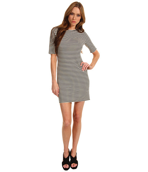 Rochii Tibi - Elsa Stripe Short Sleeve Dress - Charcoal/Ivory Multi
