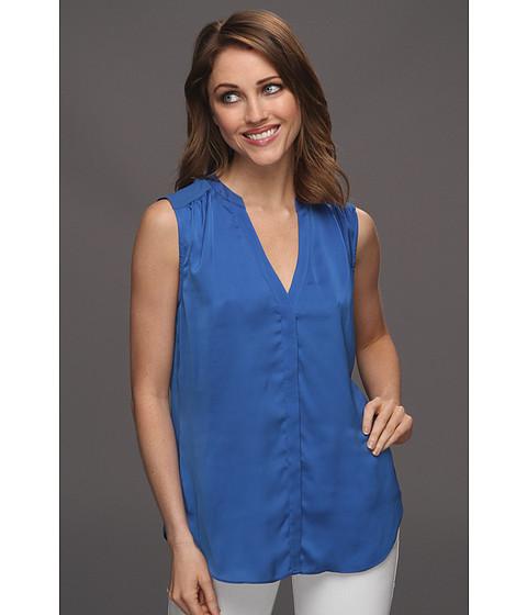 Tricouri DKNY - Sleeveless V-Neck Button Thru Shirt - Deep Cobal