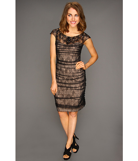 Rochii Jessica Simpson - Beaded Ruched Dress w/ Exposed Zipper - Black