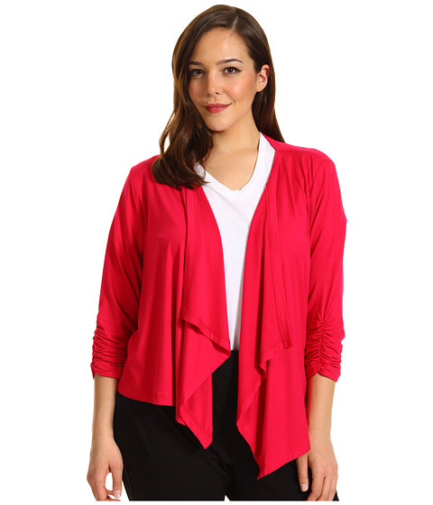 Jachete Karen Kane - Plus Size Shirred Sleeve Drape Jacket - Raspberry