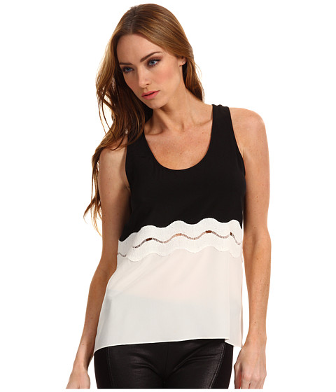 Bluze Tibi - Peekaboo Applique Tank - Black/White/Peach Multi