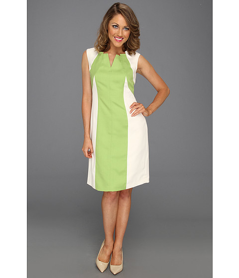 Rochii Ellen Tracy - Cap Sleeve Dress with Spliced Color - Lime/Ivory